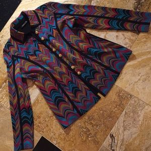 Mistook knit jacket groovy pattern/slimming black